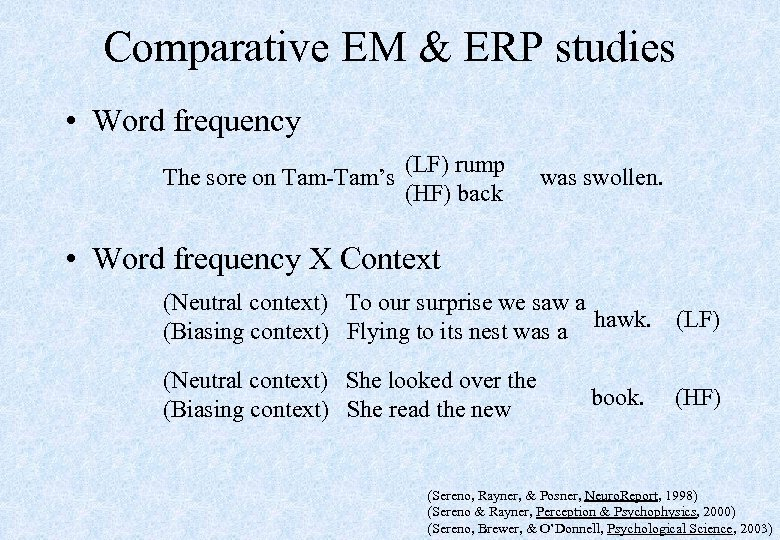 Comparative EM & ERP studies • Word frequency (LF) rump The sore on Tam-Tam's