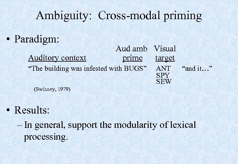 "Ambiguity: Cross-modal priming • Paradigm: Auditory context Aud amb Visual prime target ""The building"