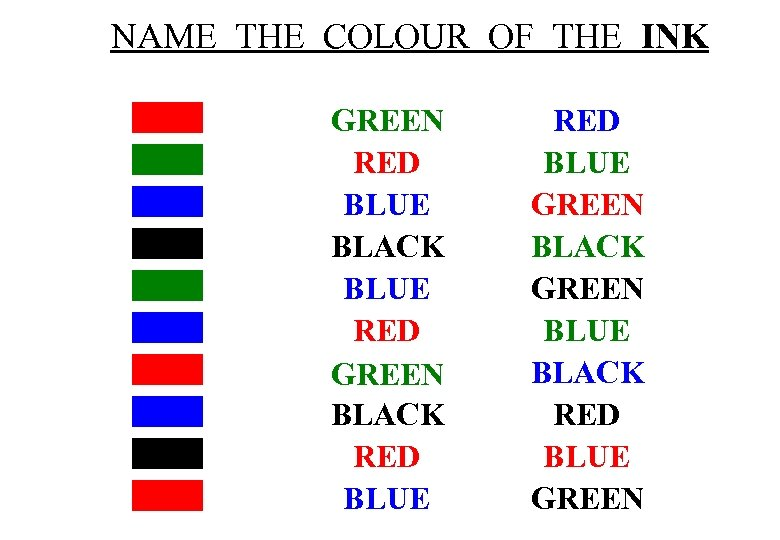 NAME THE COLOUR OF THE INK GREEN RED BLUE BLACK BLUE RED GREEN BLACK