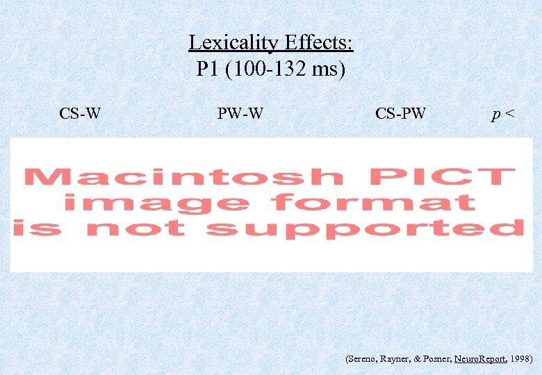 Lexicality Effects: P 1 (100 -132 ms) CS-W PW-W CS-PW p< (Sereno, Rayner, &