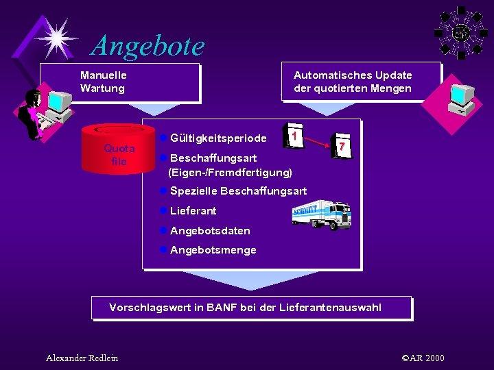 Angebote Manuelle Wartung Quota file Automatisches Update der quotierten Mengen l Gültigkeitsperiode 1 l