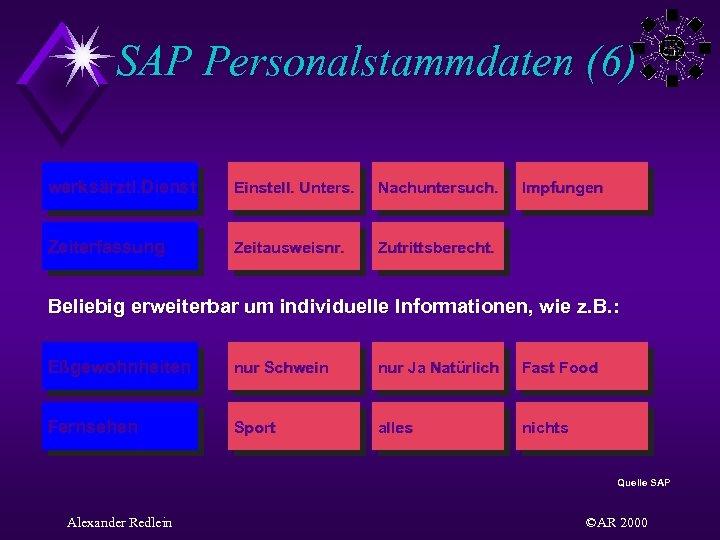 SAP Personalstammdaten (6) werksärztl. Dienst Einstell. Unters. Nachuntersuch. Zeiterfassung Zeitausweisnr. Zutrittsberecht. Impfungen Beliebig erweiterbar