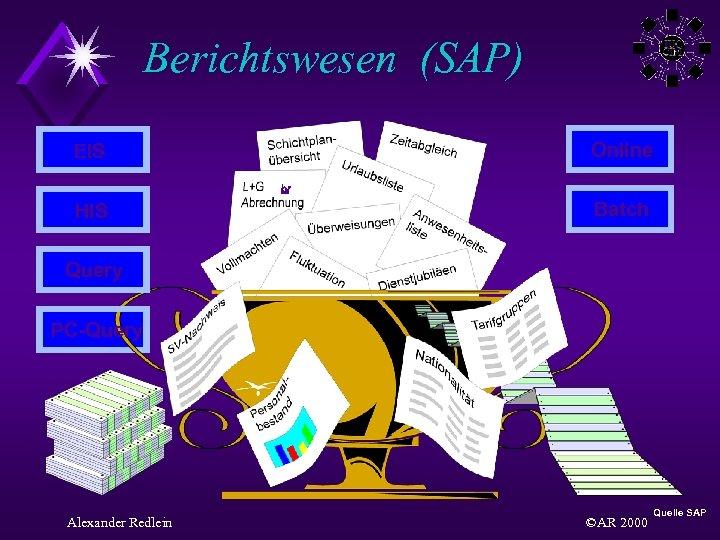 Berichtswesen (SAP) EIS Online HIS Batch Query PC-Query Alexander Redlein ©AR 2000 Quelle SAP
