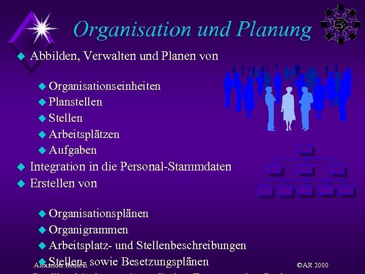Organisation und Planung u Abbilden, Verwalten und Planen von u Organisationseinheiten u Planstellen u