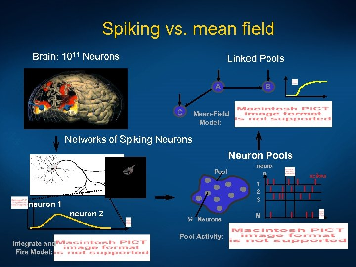 Spiking vs. mean field Brain: 1011 Neurons Linked Pools A C B Mean-Field Model: