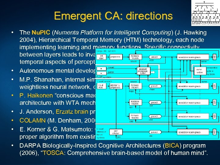 Emergent CA: directions • The Nu. PIC (Numenta Platform for Intelligent Computing) (J. Hawking