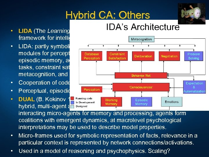 Hybrid CA: Others • LIDA (The Learning Intelligent Distribution Agent) (S. Franklin, 1997), framework