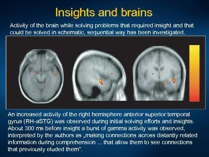 Insights and brains Activity of the brain while solving problems that required insight and