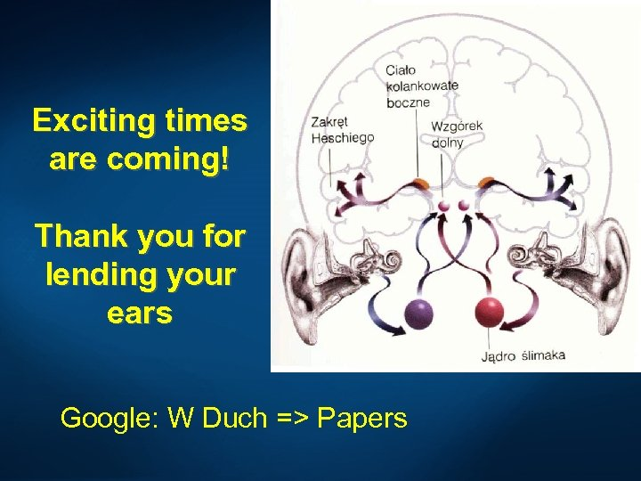 Exciting times are coming! Thank you for lending your ears Google: W Duch =>