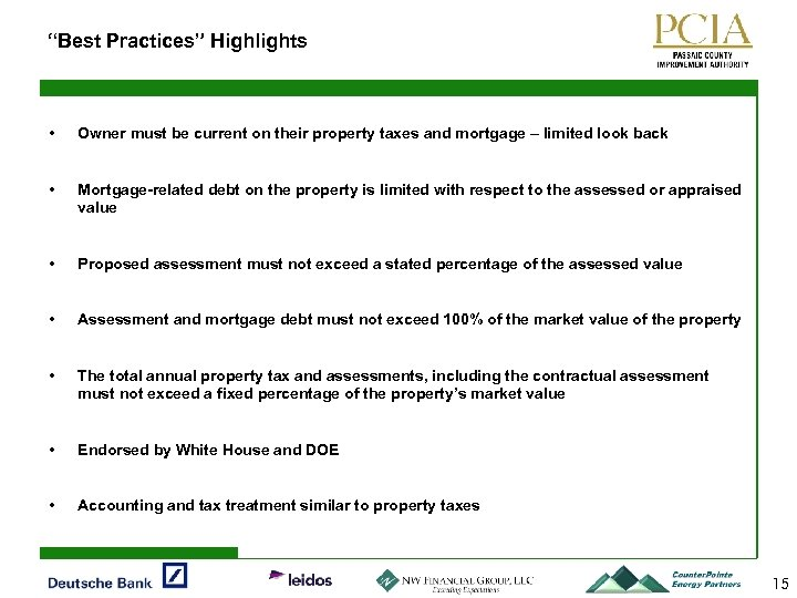 """""""Best Practices"""" Highlights • Owner must be current on their property taxes and mortgage"""