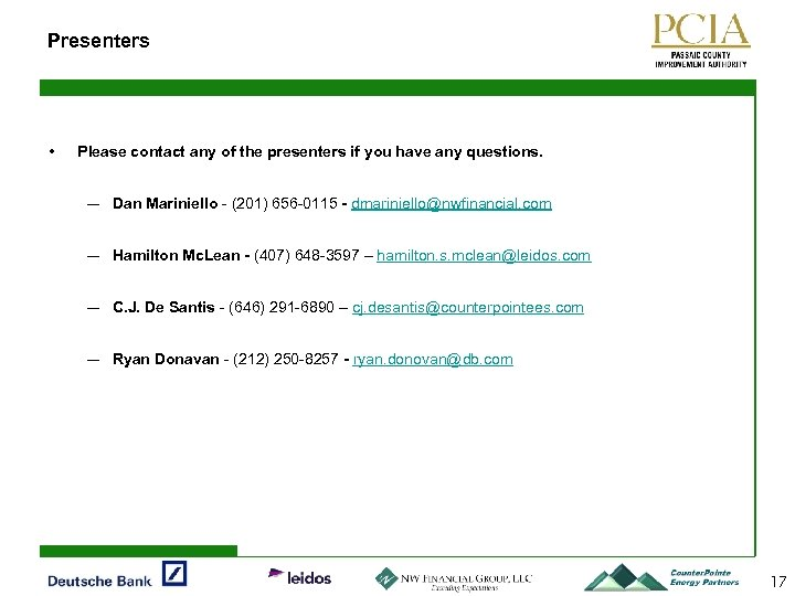 Presenters • Please contact any of the presenters if you have any questions. ―