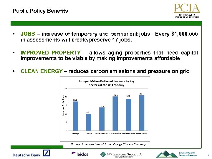 Public Policy Benefits • JOBS – increase of temporary and permanent jobs. Every $1,