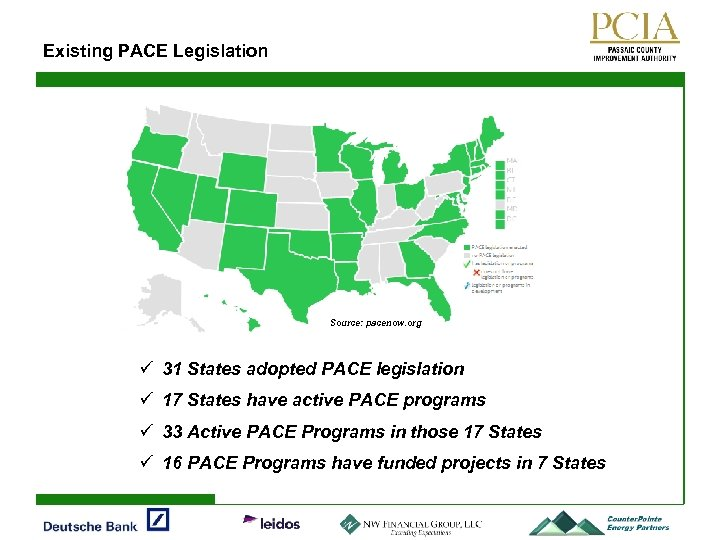 Existing PACE Legislation Source: pacenow. org ü 31 States adopted PACE legislation ü 17