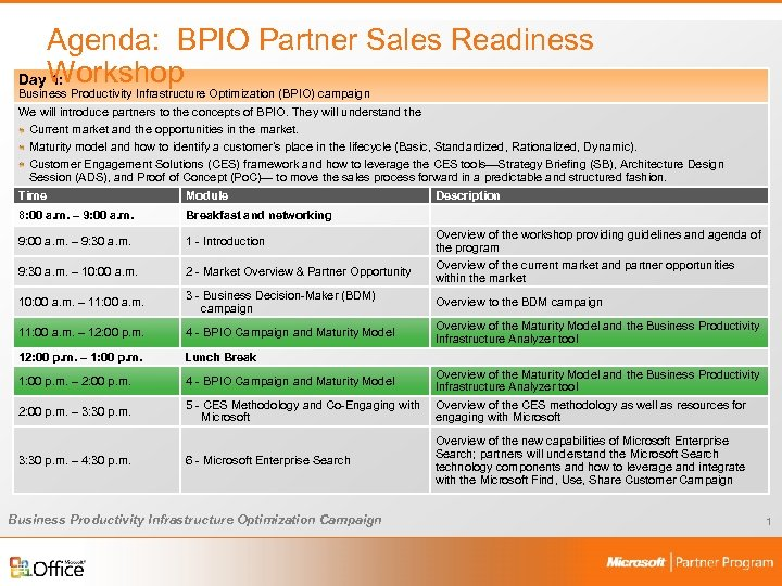Agenda: BPIO Partner Sales Readiness Day Workshop 1: Business Productivity Infrastructure Optimization (BPIO) campaign