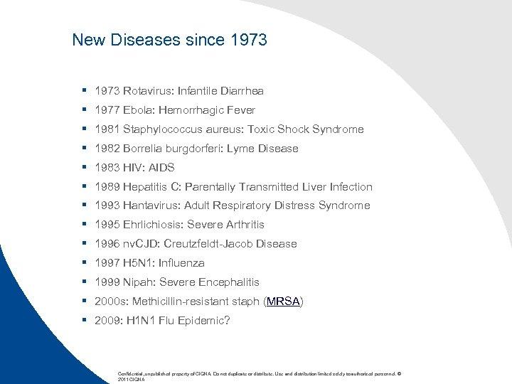 New Diseases since 1973 § 1973 Rotavirus: Infantile Diarrhea § 1977 Ebola: Hemorrhagic Fever