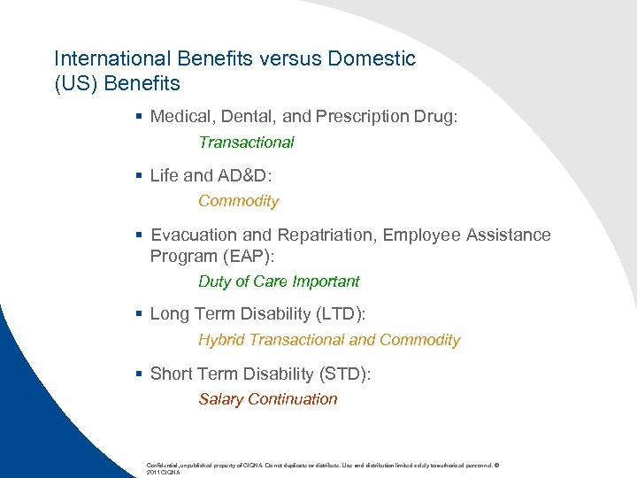 International Benefits versus Domestic (US) Benefits § Medical, Dental, and Prescription Drug: Transactional §