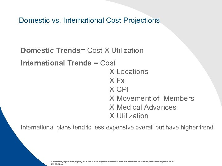 Domestic vs. International Cost Projections Domestic Trends= Cost X Utilization International Trends = Cost