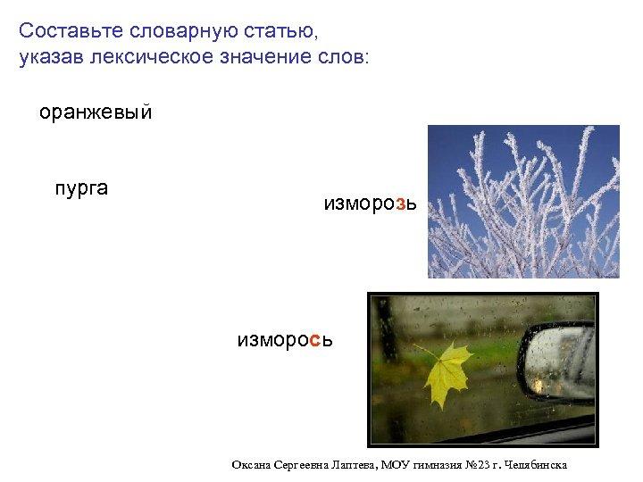 Составьте словарную статью, указав лексическое значение слов: оранжевый пурга изморозь изморось Оксана Сергеевна Лаптева,