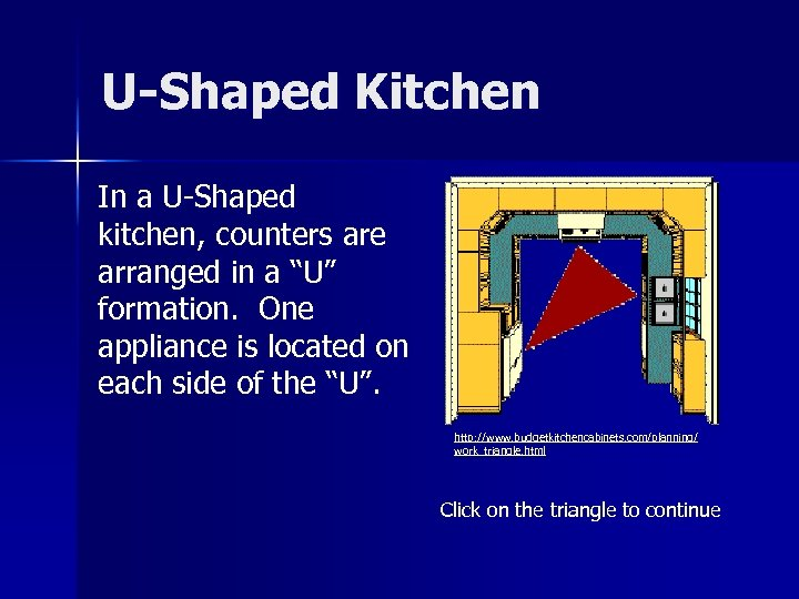 """U-Shaped Kitchen In a U-Shaped kitchen, counters are arranged in a """"U"""" formation. One"""