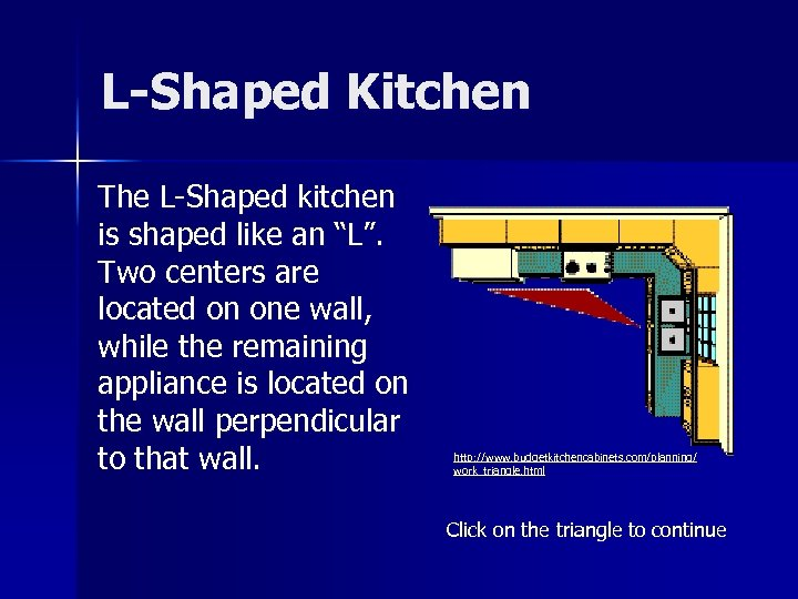 """L-Shaped Kitchen The L-Shaped kitchen is shaped like an """"L"""". Two centers are located"""