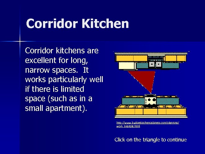 Corridor Kitchen Corridor kitchens are excellent for long, narrow spaces. It works particularly well