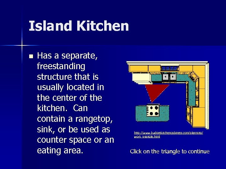 Island Kitchen n Has a separate, freestanding structure that is usually located in the