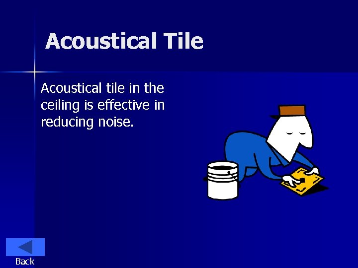 Acoustical Tile Acoustical tile in the ceiling is effective in reducing noise. Back