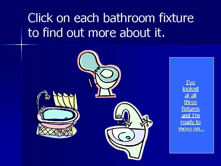 Click on each bathroom fixture to find out more about it. I've looked at