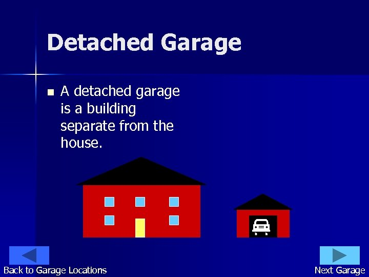 Detached Garage n A detached garage is a building separate from the house. Back