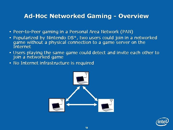 Ad-Hoc Networked Gaming - Overview Peer-to-Peer gaming in a Personal Area Network (PAN) Popularized