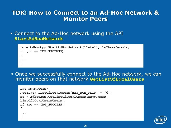 TDK: How to Connect to an Ad-Hoc Network & Monitor Peers Connect to the