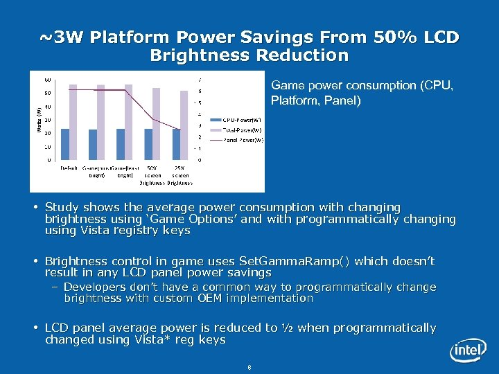 ~3 W Platform Power Savings From 50% LCD Brightness Reduction Game power consumption (CPU,
