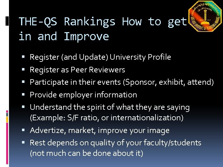 THE-QS Rankings How to get in and Improve Register (and Update) University Profile Register