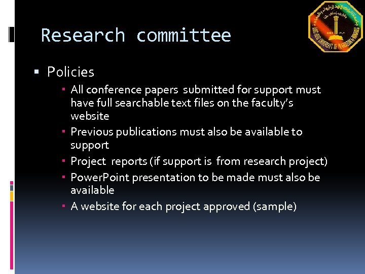 Research committee Policies All conference papers submitted for support must have full searchable text