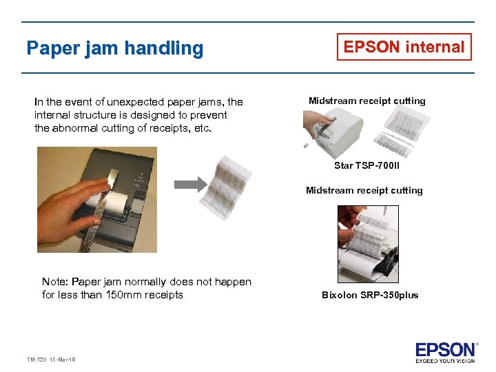 Paper jam handling In the event of unexpected paper jams, the internal structure is