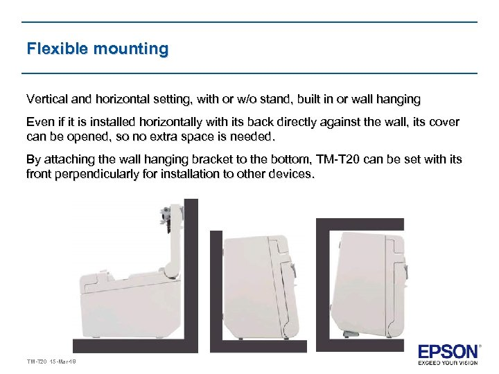 Flexible mounting Vertical and horizontal setting, with or w/o stand, built in or wall