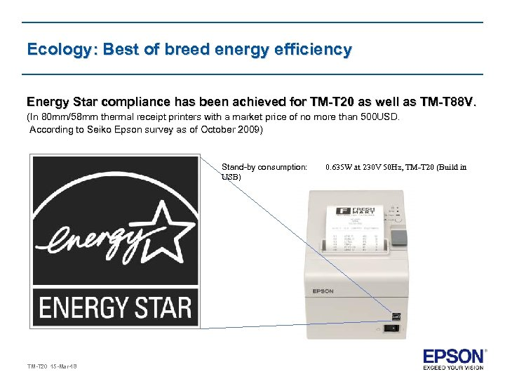 Ecology: Best of breed energy efficiency Energy Star compliance has been achieved for TM-T