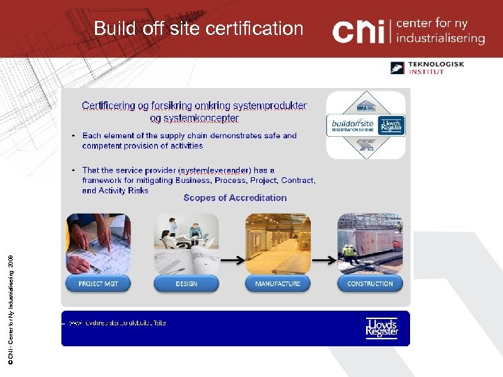 © CNI - Center for Ny Industrialisering 2008 Build off site certification