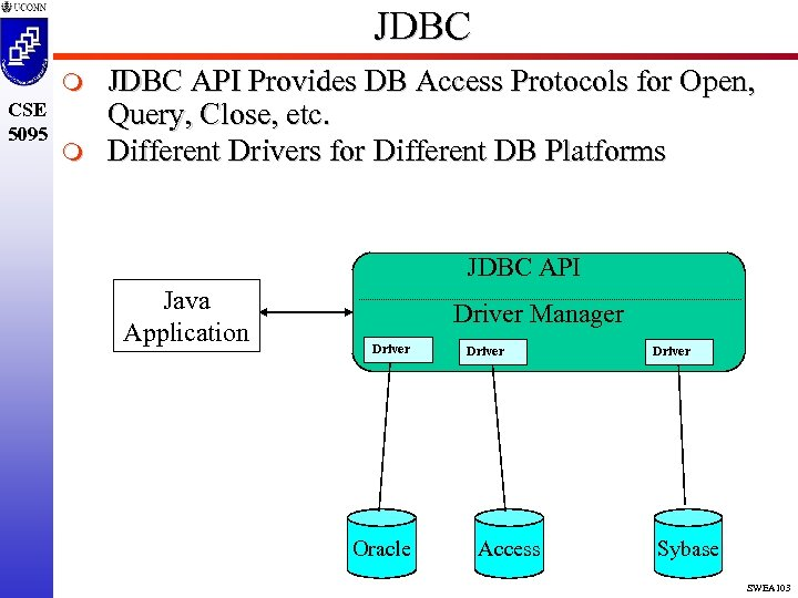 JDBC m CSE 5095 m JDBC API Provides DB Access Protocols for Open, Query,