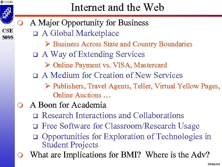 Internet and the Web m CSE 5095 A Major Opportunity for Business q A