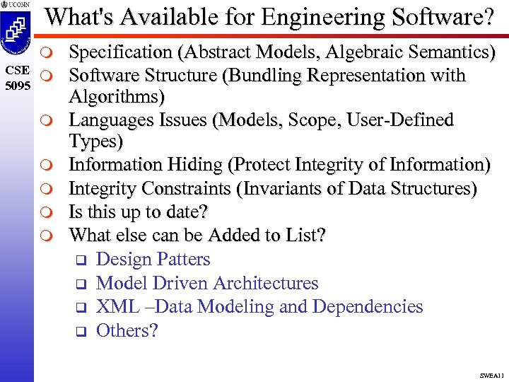 What's Available for Engineering Software? m CSE m 5095 m m m Specification (Abstract