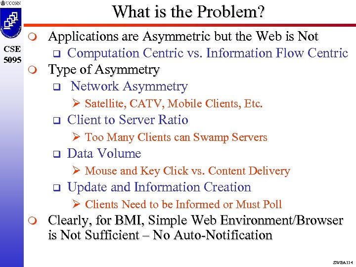 What is the Problem? m CSE 5095 m Applications are Asymmetric but the Web