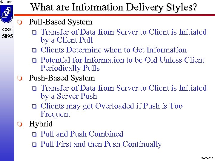 What are Information Delivery Styles? m CSE 5095 m m Pull-Based System q Transfer
