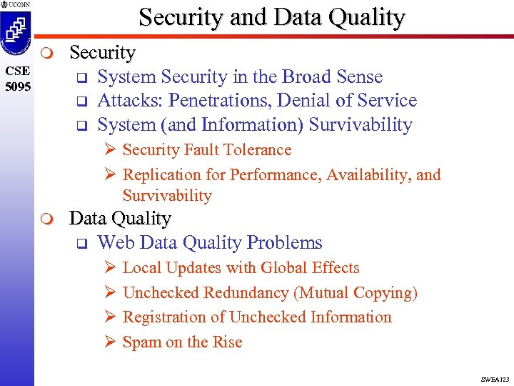 Security and Data Quality m CSE 5095 Security q System Security in the Broad
