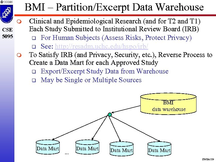 BMI – Partition/Excerpt Data Warehouse m CSE 5095 m Clinical and Epidemiological Research (and