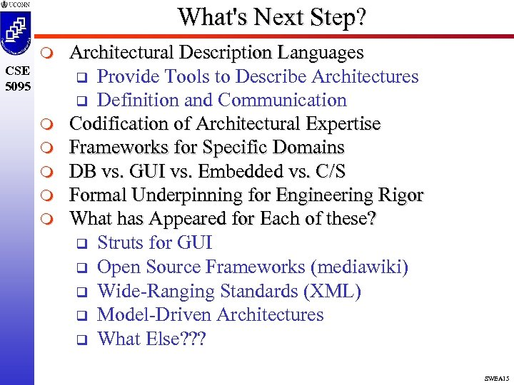 What's Next Step? m CSE 5095 m m m Architectural Description Languages q Provide