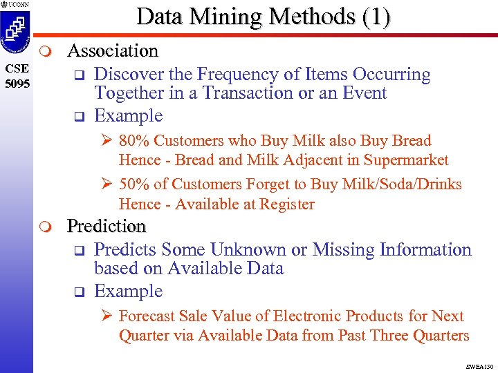 Data Mining Methods (1) m CSE 5095 Association q Discover the Frequency of Items