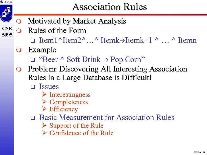 Association Rules m CSE m 5095 m m Motivated by Market Analysis Rules of