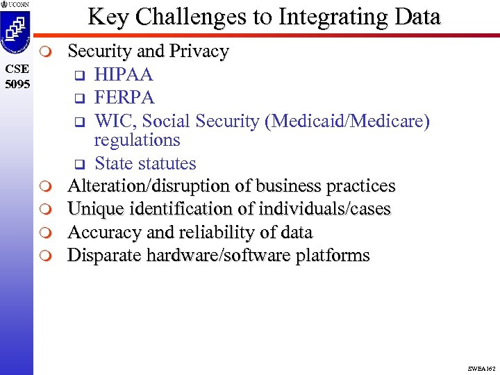 Key Challenges to Integrating Data m CSE 5095 m m Security and Privacy q