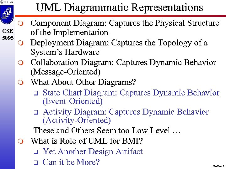 UML Diagrammatic Representations m CSE 5095 m m Component Diagram: Captures the Physical Structure